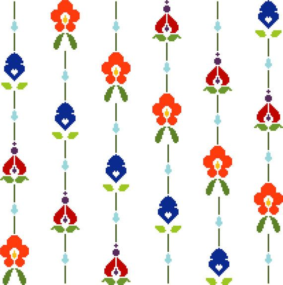 Pretty little flowers strung together in a repetitive patter. Modern cross stitch design. Contemporary cross stitch pattern.