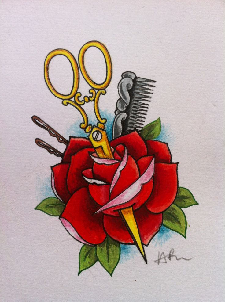 old school tattoo design i did for a hairdresser beauty school hair stylist pinterest. Black Bedroom Furniture Sets. Home Design Ideas