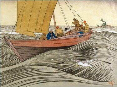 Walter Joseph Phillips,Canadian (1884-1963) -  York Boat on Lake Winnipeg, 1930  colour woodcut on paper