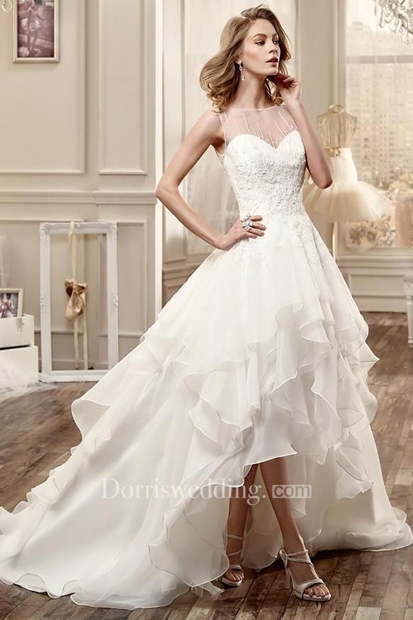 Jewel Neck High Low Wedding Dress With Cascading Ruffles And Beaded Bodice Mk 701400 Wedding Dresses High Low Ruffle Wedding Dress Short Wedding Dress