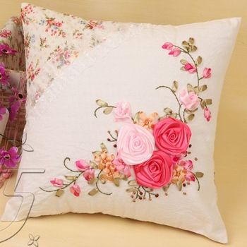 Ribbon work pillow cover