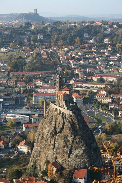 Chapelle St Michel d'Aiguilhe in Le Puy en Velay, France - let's build a great chapel on top of that rather pointy mountain in the middle of the city!!!....... Seemed like a great idea at the time!!