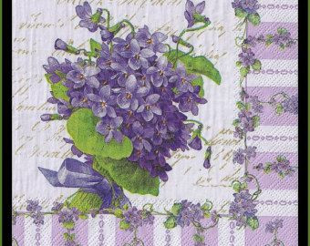 4 Napkins Violets Decoupage Napkins - Use For Crafts, Mixed Media, Scrapbooking, Collage And Altered Art Projects