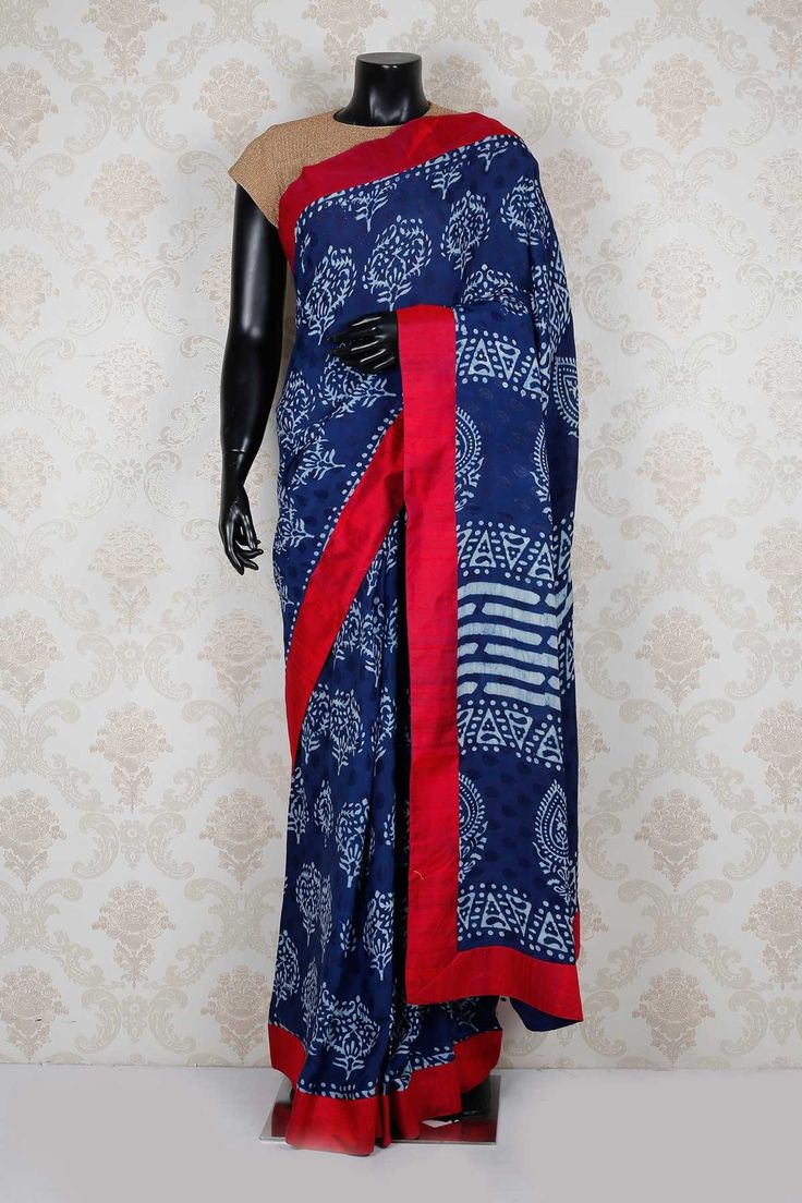 Navy blue & white pure tussar silk mesmeric saree with red border -SR13940 - Pure Tussar Printed - PURE PRINTED SAREE - Sarees