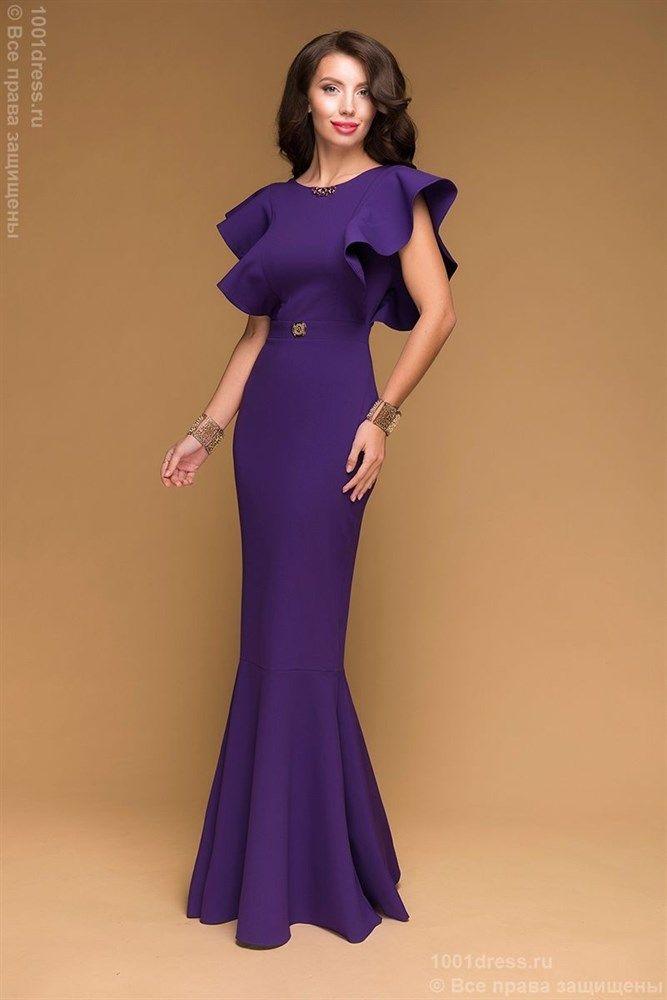 Фиолетовое вечернее платье в пол с пышными рукавами и декоративной молнией на спинке - фото 11670