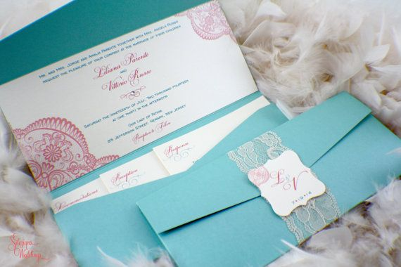 The Liliana Lace Wedding Invitations  Tiffany blue and by SDezigns
