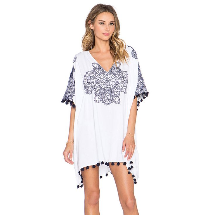 Kaftan Beach Cover Ups Pareo Wear Beachwear Dresses Sexy Up New Blue White Printing Size Bat Long Sleeve Loose Dress Moda Praia