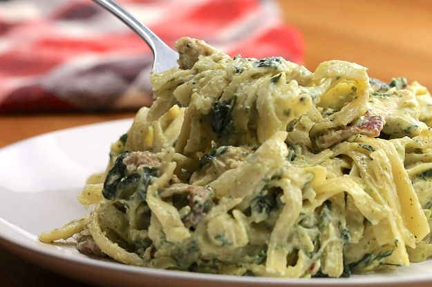 One-Pot Creamy Chicken Bacon Pesto Pasta- make with a little cream and chicken broth instead of milk and serve over zucchini for thm.