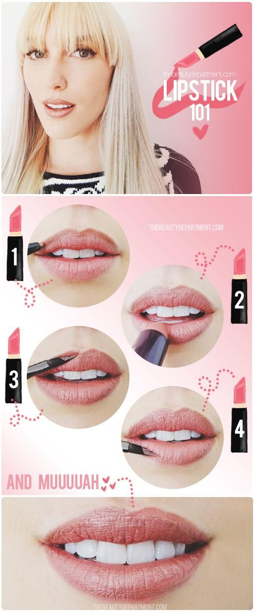 Basic steps to perfect lips: pencil, fill, touch up with a lip brush.