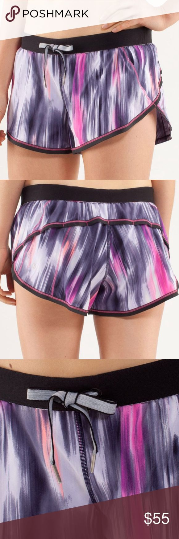 "Rare Lululemon Purple Pattern Roll Down Shorts wear shorts as-is or roll down the waistband for a low-rise fit lightweight Swift fabric with two-way stretch keeps you moving comfortably tie the drawcord for a secure fit built-in liner keeps your shorts in place stash your keys and coins in the hidden inner-waistband pocket  Tech specs designed for: run fabric(s): Swift, Luxtreme® properties: moisture wicking, chafe-resistant, breathable rise: medium inseam: 3"" leg opening: 29 1/4"" liner: yes…"