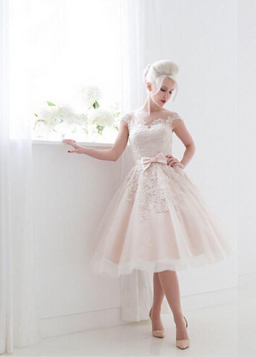 Vintage korte trouwjurk sexy budget bruidsjurk op maat