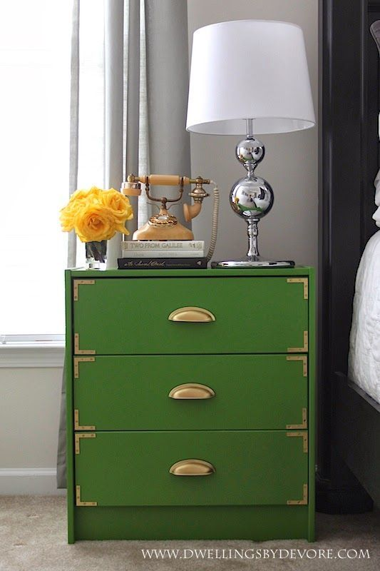 Learn how to turn a plain, unfinished dresser into a trendy statement piece in this easy DIY tutorial from @dwellingsbydev. KILZ Spray Primer helps cover the absorbent wood surface while gold hardware pops against a rich green background.
