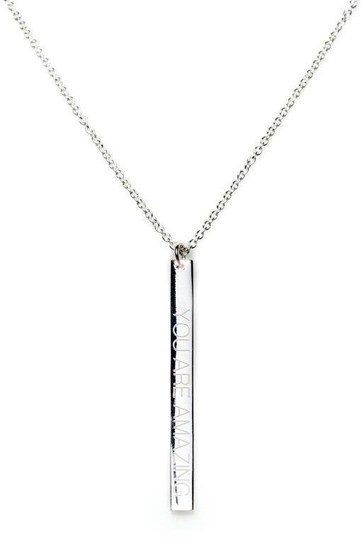 Power Quote YOU ARE AMAZING Necklace - HeidisHoff.no  #silver #jewelry #designbyheidihoff #treasuresofempowerment
