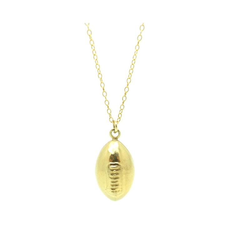 """Vintage 1970s charm necklace features an American football set in 9 carat yellow gold. The charm is light in weight, it hangs from a new 9ct yellow gold chain. The charm will add a whimsical playful charm effortlessly to your wardrobe or alternatively a wonderful gift for a sports fan.  HALLMARKS Tested, 9ct.  MEASUREMENTS The charms measures 2.4cm / 0.9"""" in height and 0.4cm / 1.1"""" in width. The charm hangs from a new 9ct yellow gold 18"""" chain.  CONDITION Excellent.  S..."""