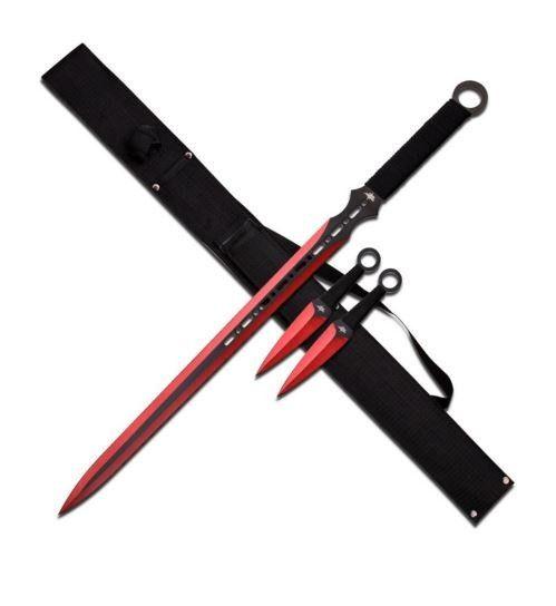 "Espada Ninja ""KUNAI COMBO"" Vermelha C/ 2 Facas de Arremesso – Dark House"