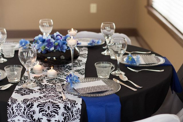 gorgeous blue black and white damask party table see more party ideas at catchmyparty