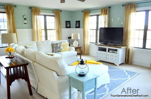love the color palet, blue and yellow, family room, eclectic pieces