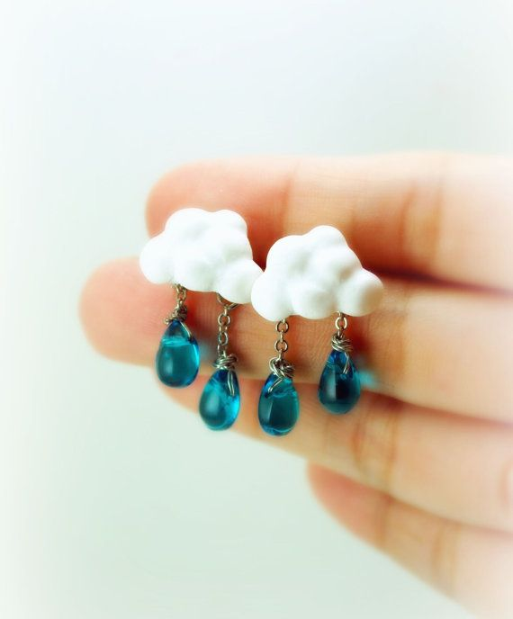 Of Rain and Rainbows. Cloud Earrings. Rain Drops Earrings. Spring. Summer Rain. Handmade Miniature Jewelry Polymer Clay.