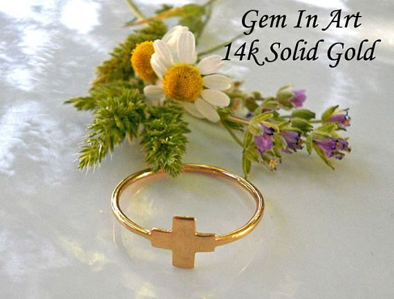 14K Solid Gold Ring 14K Solid Gold Cross Ring 14K Gold