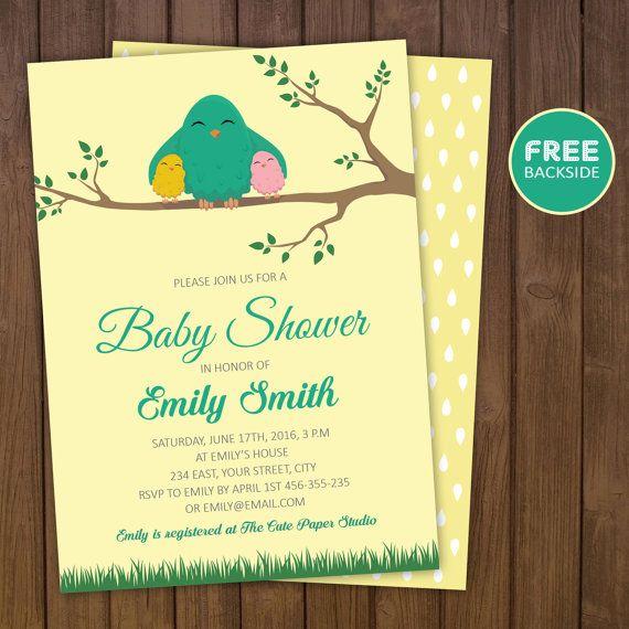 Bird Baby Shower Invitation  Baby Shower by TheCutePaperStudio