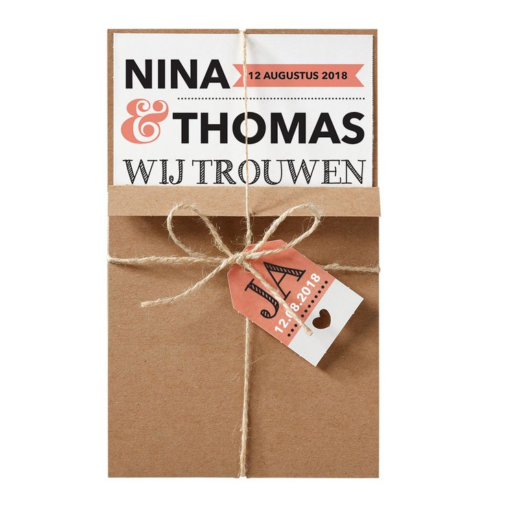 Spring in het oog met deze stoere combinatie van trendy kraftpapier en moderne lettertypes. Deze trouwkaart is een cadeautje om te ontvangen!