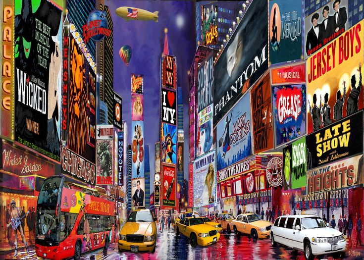 New York City Paintings | Times Square New York City Art Print Poster On by NewYorkArtPrints