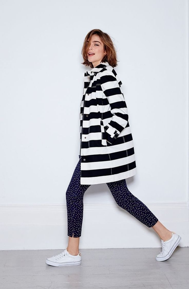 fd32326faa57 Rainy day style. Blue and white striped raincoat