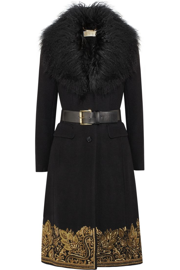 Michael Michael Kors Shearling Trimmed Embroidered Wool Blend Coat in Black