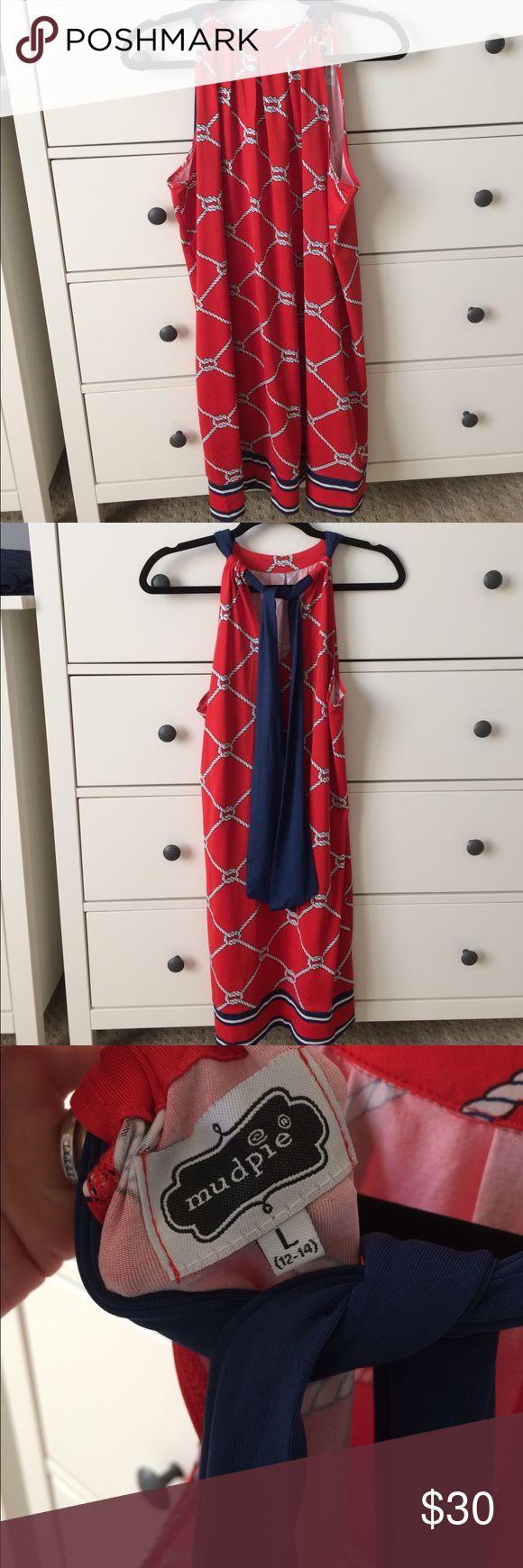 Never been worn nautical mud pie L. New never been worn nautical red dress. Great for summer parties, 4th of July. Bought if for a maternity dress but never got to wear it. Pet free, smoke free. Mud Pie Dresses Midi