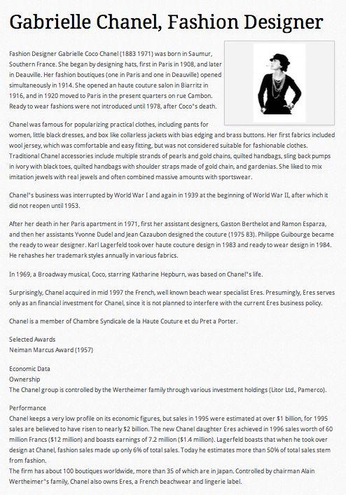 Gabrielle Coco Chanel 39 S Bio Designer Resumes Bio