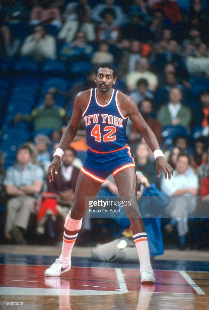 Spencer Haywood #42 of the New York Knicks in action against the Washington Bullets during an NBA basketball game circa 1977 at the Capital Centre in Landover, Maryland. Haywood played for the Knicks from 1975-79.
