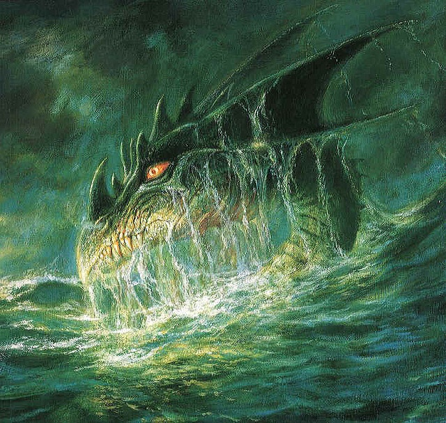 "Boris Vallejo - ""A Dragon Coming out of the Ocean"""