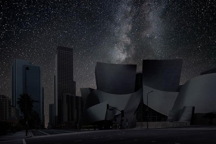 Los Angeles : What the city is missing:Thierry Cohenphotographs cityscapes and then photographs deserts at night, combing the two to show us what our cities would look like with the lights off. The stars are not enhanced, they are actual photos from relative latitudes that would expose the same starry sky view if it weren't for light pollution. Click on each photo to see which city it is.