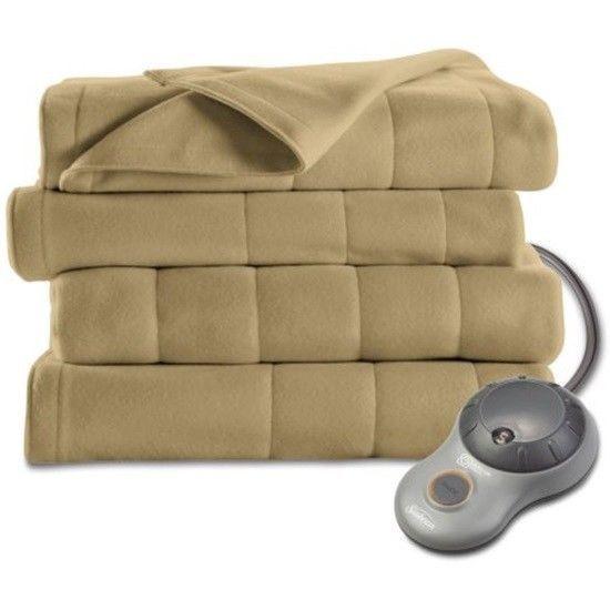 Sunbeam Electric Heated Fleece Blanket Acorn Twin Single Control Toasty Warm New #Sunbeam #Modern