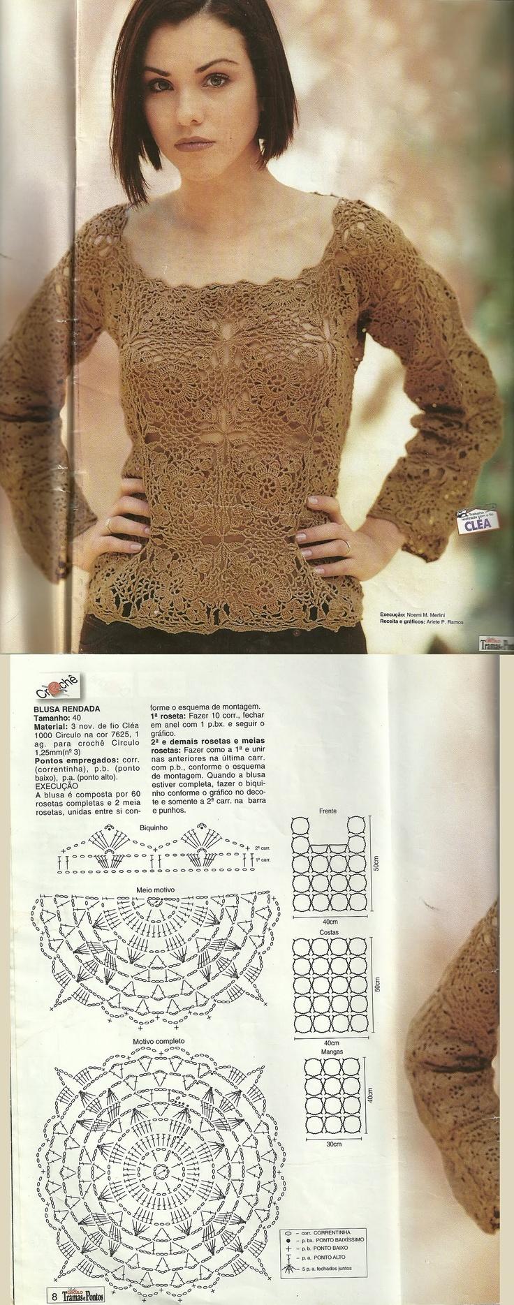 Blusa de crochê a partir dos elementos