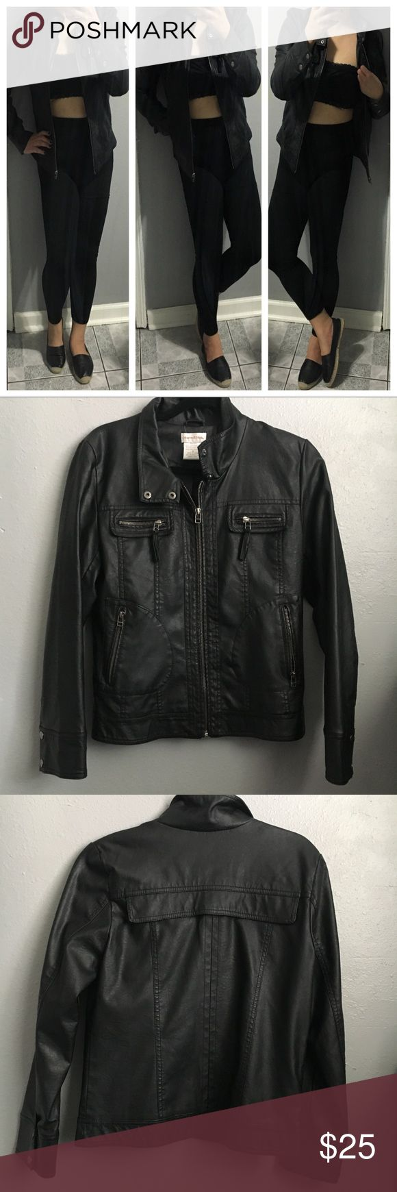 """Monroe and Main Women S Black Faux Leather Jacket Monroe and Main Women's Small Black poster Leather Jacket   Like New, worn 2-3x  Size S Shell: 50% Polyester Lining: 100% Polyester  Armpits to armpits: 17 1/2"""" Length: 24"""" Made in China Monroe & Main Jackets & Coats"""