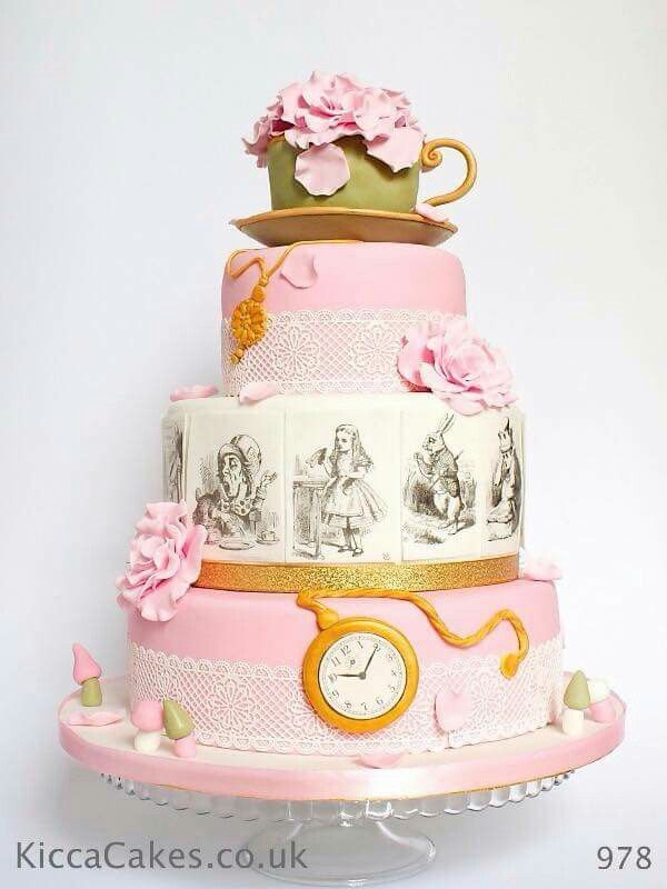 978 Vintage Alice In Wonderland Wedding Cake