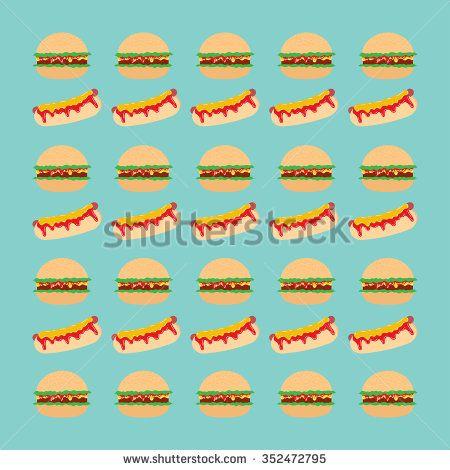 Fast food hamburger and hot dog vector pattern - stock vector