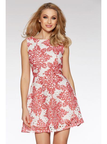 White And Red Crochet Paisley Print Skater Dress