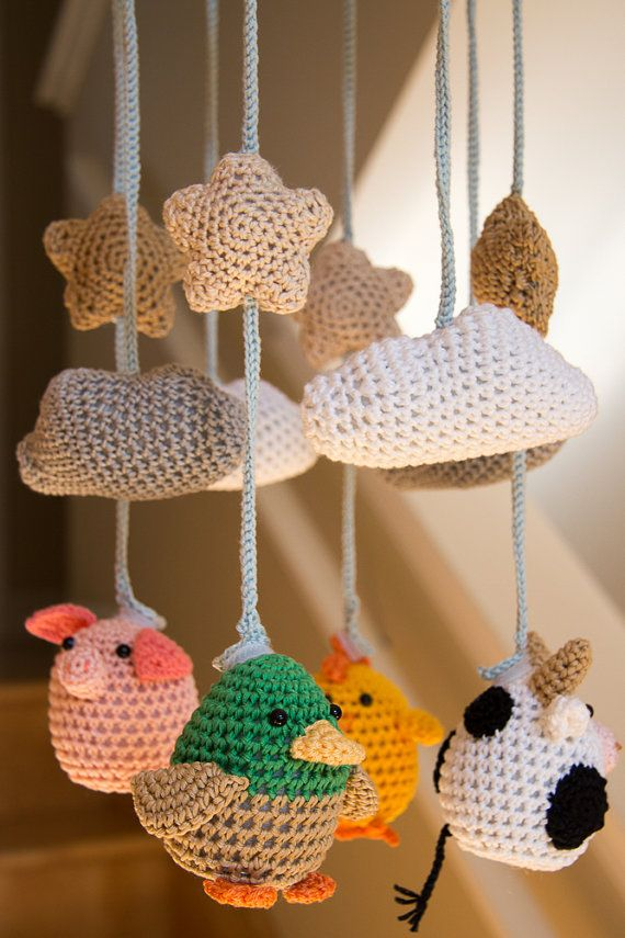 Animales de granja Crocheted lindo bebé móvil