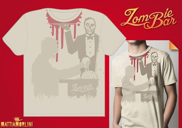 funny t shirt  zombie shirt  zombie bar  maglietta simpatica divertente