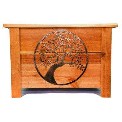 Hollis Wood Products 24 in. x 24 in. Redwood Planter with Metal Oak Tree Art, Natural Redwood