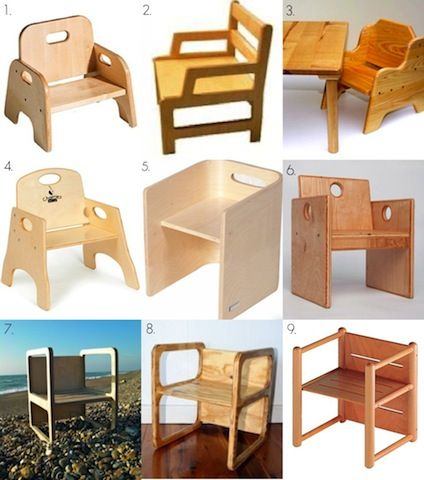 The weaning chair, first chair introduced when the child is able to sit with a little bit of help. A few examples.