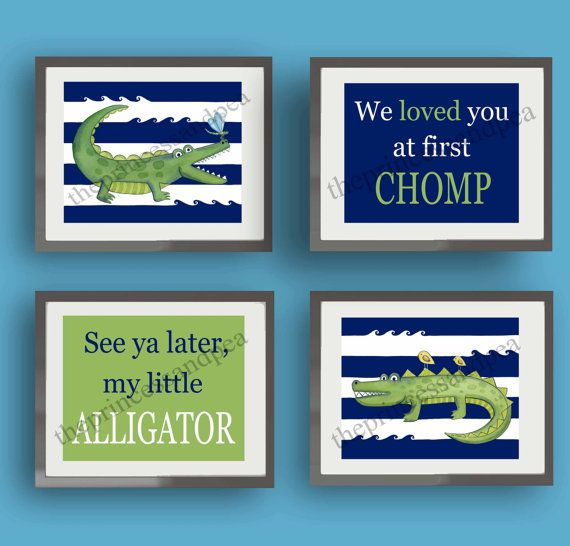 Gators!  SET OF four 8X10 GICLEE PRINTS (20.3cmX25.4cm) stripes are navy blue and white  All prints are made from my original artwork created