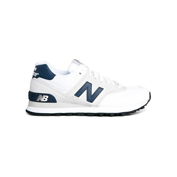 New Balance White Suede and Canvas 574 Trainers (€74) found on Polyvore featuring women's fashion, shoes, sneakers, canvas trainers, canvas shoes, new balance shoes, new balance trainers and new balance sneakers