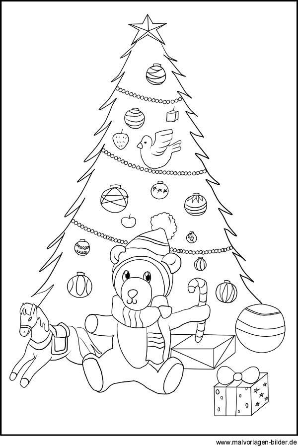 Weihnachtsbaum - Ausmalbild und Malvorlage Ausmalen