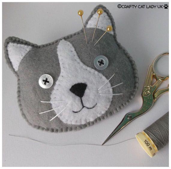 cat face pin cushion novelty pin cushion cat themed cat