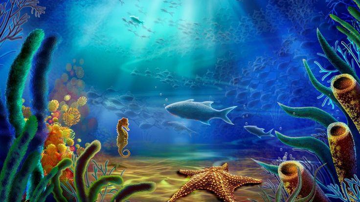 Cartoon art vector color ocean underwater wallpaper | 1920x1080 ...
