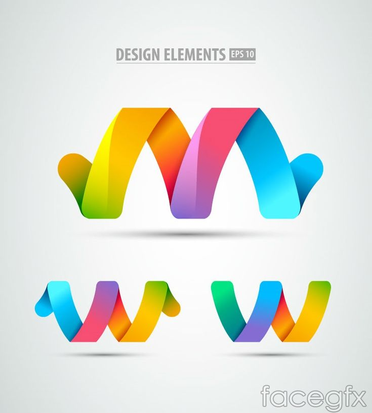 3 rainbow colored paper ribbons logo vector