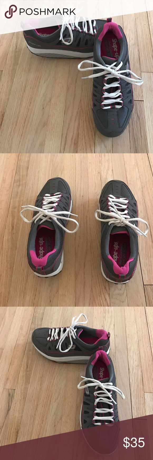 NWOT Skechers Shape-Ups Sneakers NWOT Skechers Air Cooled Memory Foam Shape-Up Sneakers. Size:6.5. Colors are gray pink & white. Pull on tab in back. Traction on bottom for safety. White laces. Very comfortable! NO TRADES. Skechers Shoes Sneakers